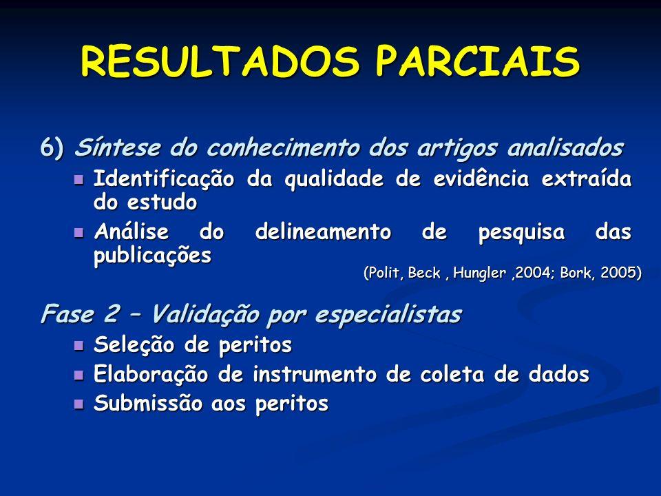 6) Síntese do conhecimento dos artigos analisados Identificação da qualidade de evidência extraída do estudo Identificação da qualidade de evidência e