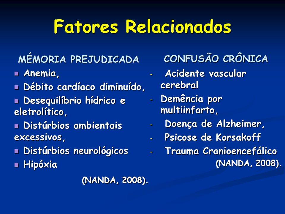 Fatores Relacionados MÉMORIA PREJUDICADA Anemia, Anemia, Débito cardíaco diminuído, Débito cardíaco diminuído, Desequilíbrio hídrico e eletrolítico, D