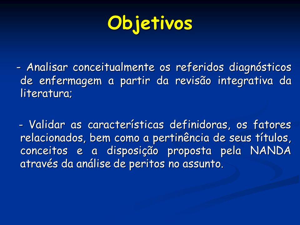 - Analisar conceitualmente os referidos diagnósticos de enfermagem a partir da revisão integrativa da literatura; - Analisar conceitualmente os referi