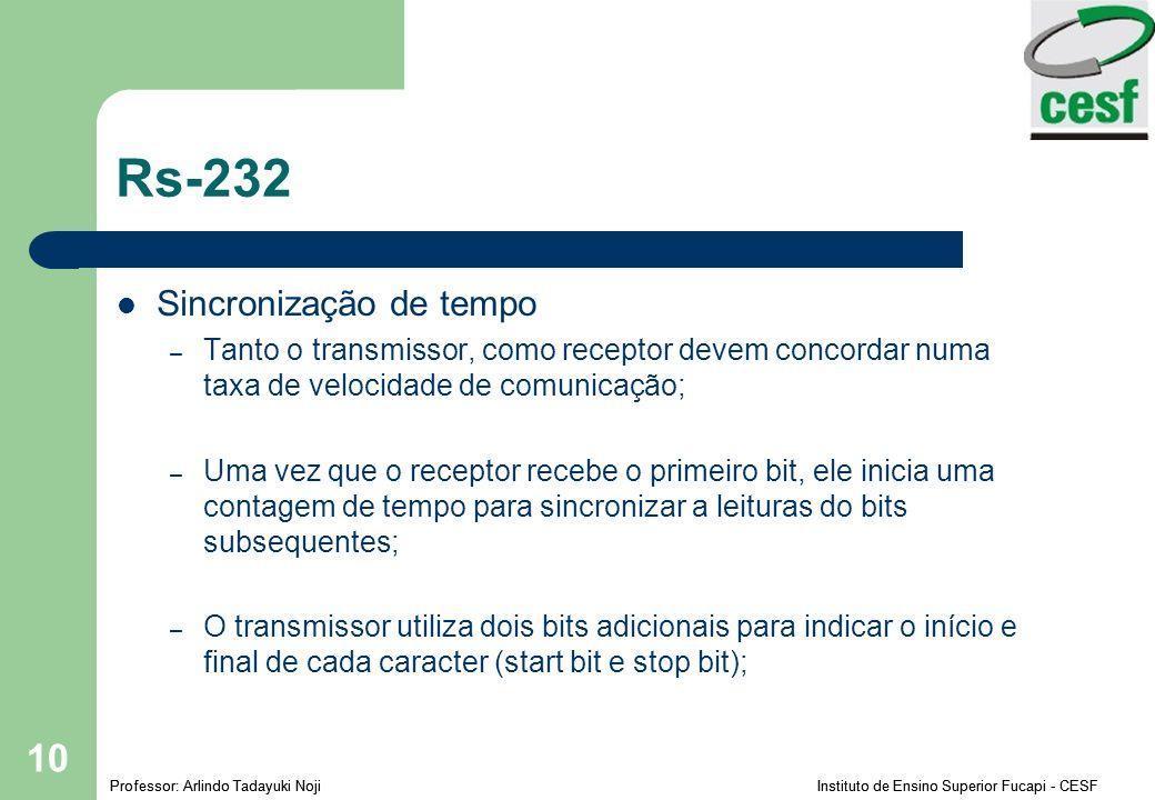 Professor: Arlindo Tadayuki Noji Instituto de Ensino Superior Fucapi - CESF 10 Rs-232 Sincronização de tempo – Tanto o transmissor, como receptor devem concordar numa taxa de velocidade de comunicação; – Uma vez que o receptor recebe o primeiro bit, ele inicia uma contagem de tempo para sincronizar a leituras do bits subsequentes; – O transmissor utiliza dois bits adicionais para indicar o início e final de cada caracter (start bit e stop bit);