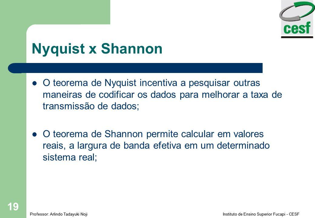 Professor: Arlindo Tadayuki Noji Instituto de Ensino Superior Fucapi - CESF 19 Nyquist x Shannon O teorema de Nyquist incentiva a pesquisar outras maneiras de codificar os dados para melhorar a taxa de transmissão de dados; O teorema de Shannon permite calcular em valores reais, a largura de banda efetiva em um determinado sistema real;