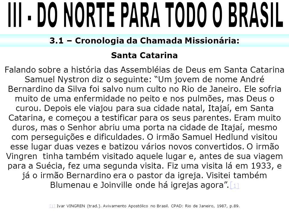 3.1 – Cronologia da Chamada Missionária: Santa Catarina Falando sobre a história das Assembléias de Deus em Santa Catarina Samuel Nystron diz o seguin