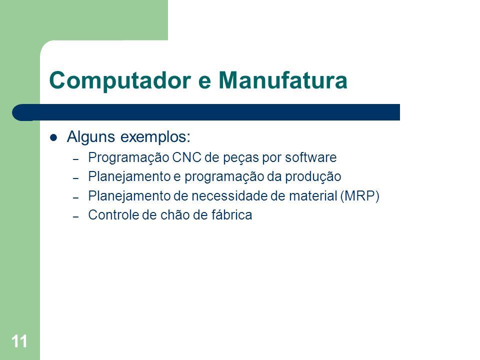 11 Computador e Manufatura Alguns exemplos: – Programação CNC de peças por software – Planejamento e programação da produção – Planejamento de necessi