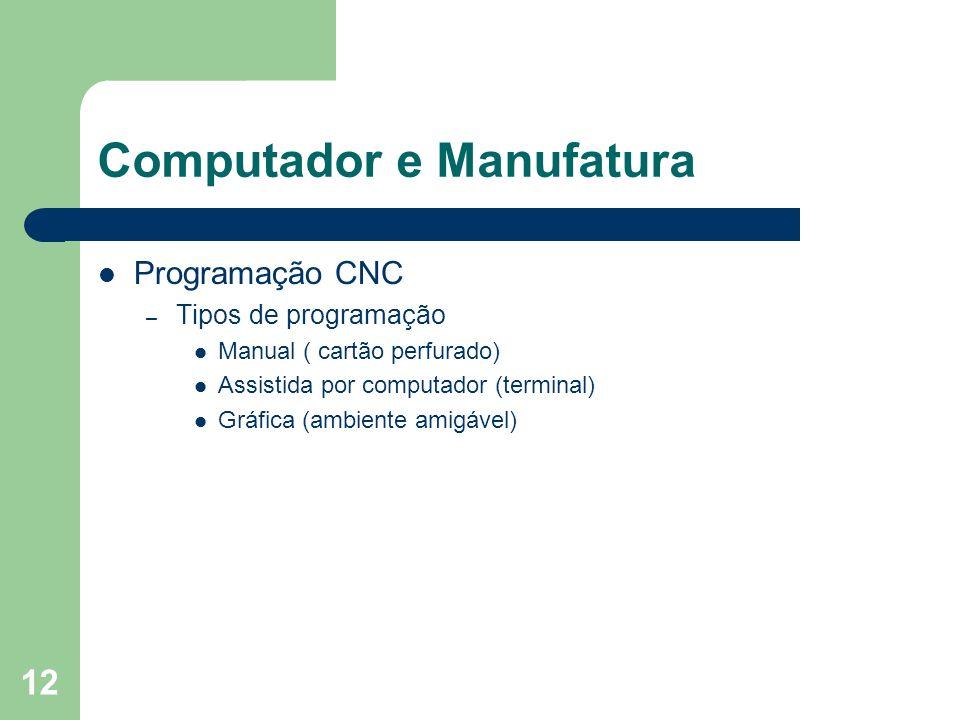 12 Computador e Manufatura Programação CNC – Tipos de programação Manual ( cartão perfurado) Assistida por computador (terminal) Gráfica (ambiente ami