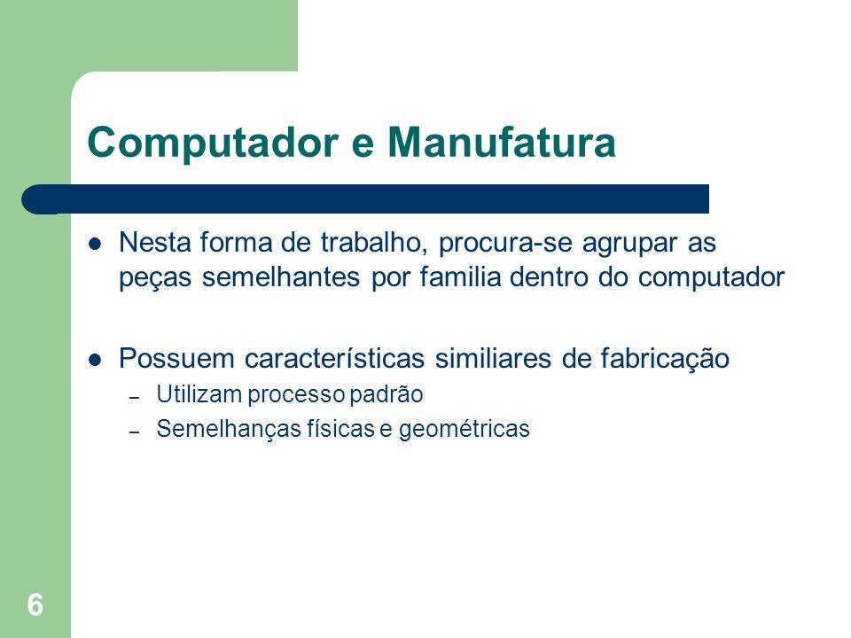 6 Computador e Manufatura Nesta forma de trabalho, procura-se agrupar as peças semelhantes por familia dentro do computador Possuem características si