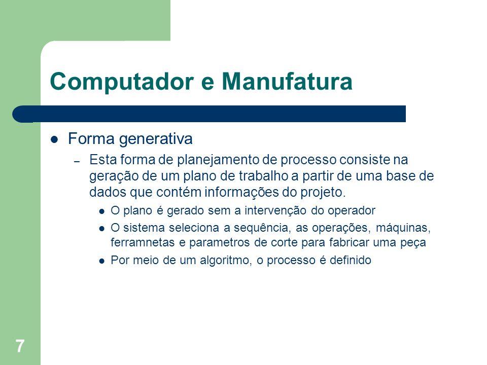 7 Computador e Manufatura Forma generativa – Esta forma de planejamento de processo consiste na geração de um plano de trabalho a partir de uma base d