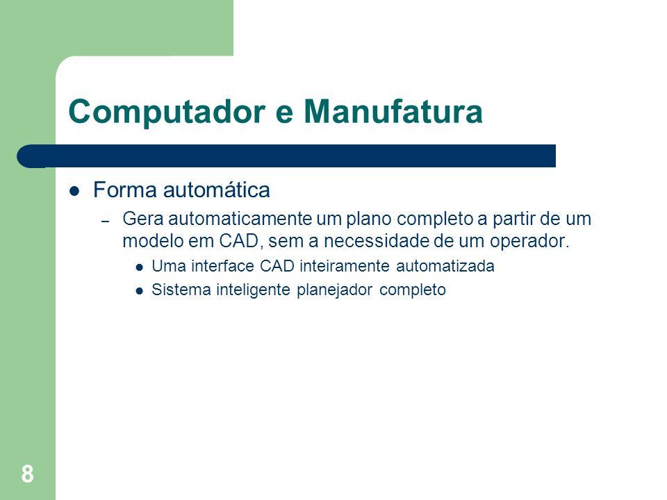 8 Computador e Manufatura Forma automática – Gera automaticamente um plano completo a partir de um modelo em CAD, sem a necessidade de um operador. Um