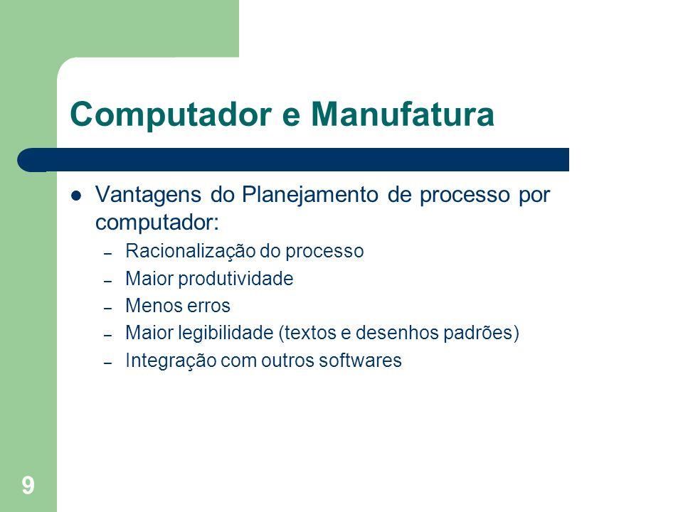 9 Computador e Manufatura Vantagens do Planejamento de processo por computador: – Racionalização do processo – Maior produtividade – Menos erros – Mai