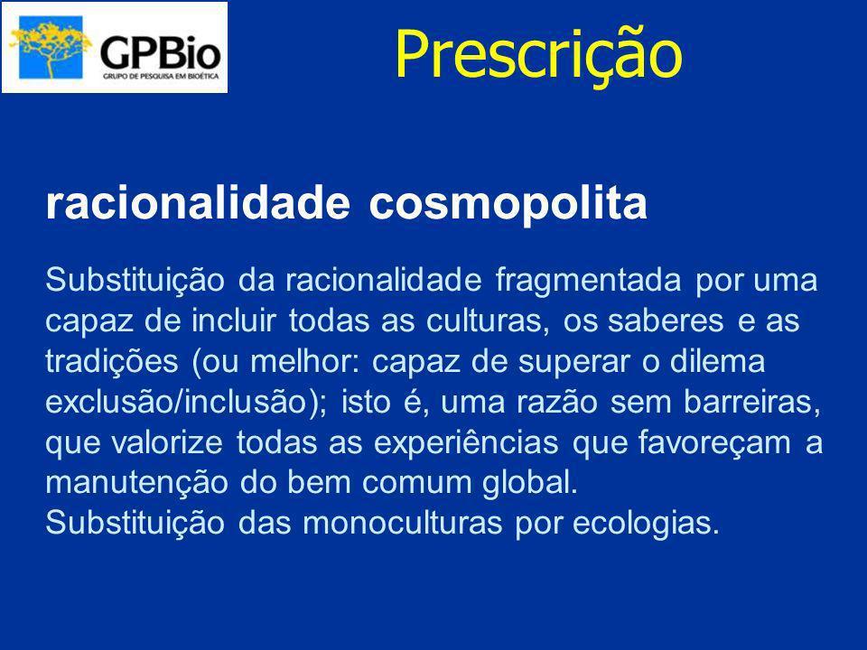 Prescrição racionalidade cosmopolita Substituição da racionalidade fragmentada por uma capaz de incluir todas as culturas, os saberes e as tradições (