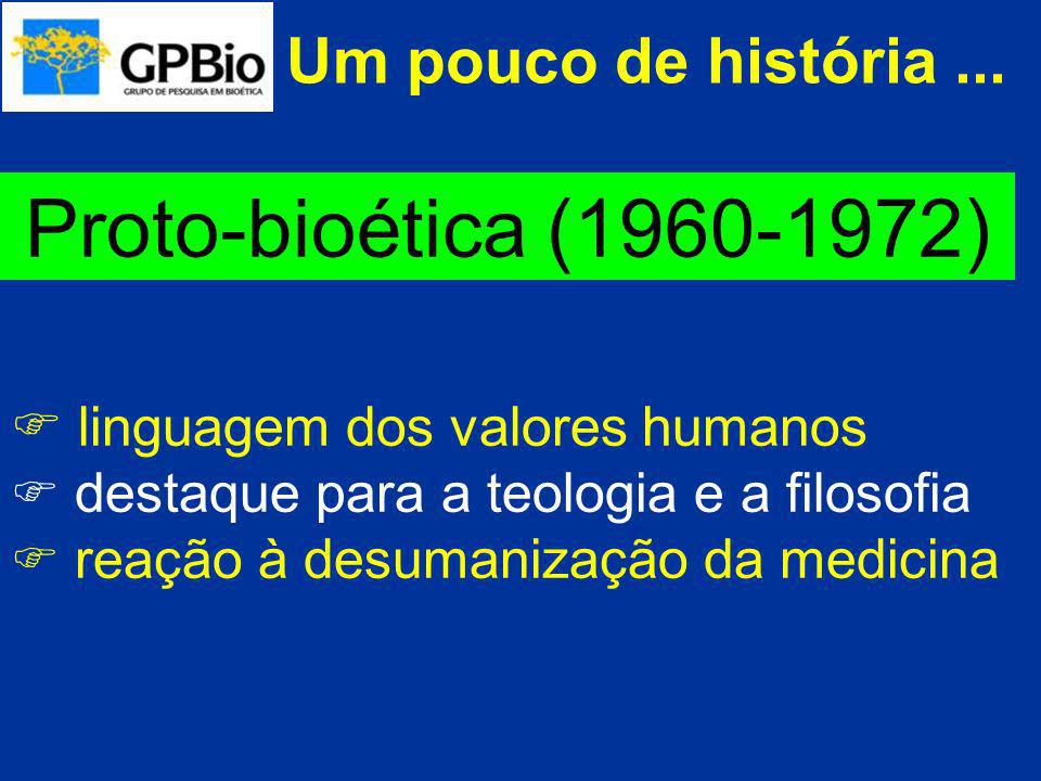 Um pouco de história... Proto-bioética (1960-1972) linguagem dos valores humanos destaque para a teologia e a filosofia reação à desumanização da medi