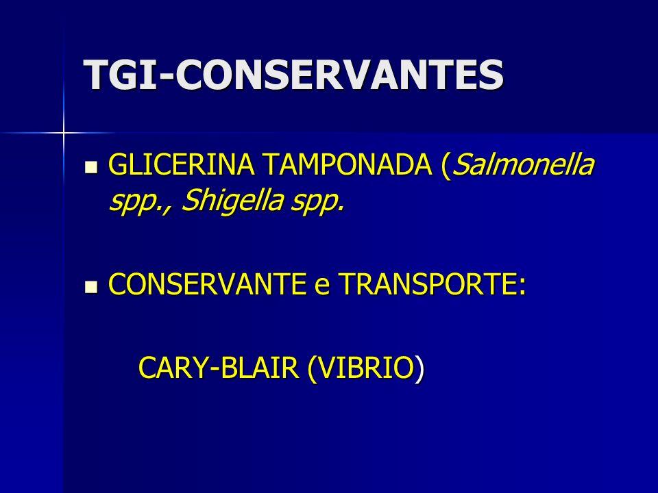 TGI-CONSERVANTES GLICERINA TAMPONADA (Salmonella spp., Shigella spp. GLICERINA TAMPONADA (Salmonella spp., Shigella spp. CONSERVANTE e TRANSPORTE: CON