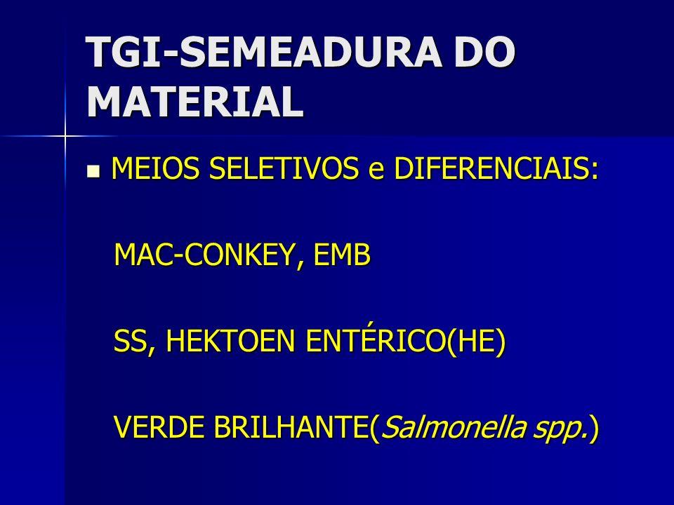 TGI-SEMEADURA DO MATERIAL MEIOS SELETIVOS e DIFERENCIAIS: MEIOS SELETIVOS e DIFERENCIAIS: MAC-CONKEY, EMB MAC-CONKEY, EMB SS, HEKTOEN ENTÉRICO(HE) SS,