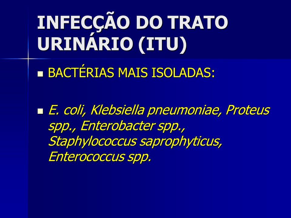 INFECÇÃO DO TRATO URINÁRIO (ITU) BACTÉRIAS MAIS ISOLADAS: BACTÉRIAS MAIS ISOLADAS: E. coli, Klebsiella pneumoniae, Proteus spp., Enterobacter spp., St