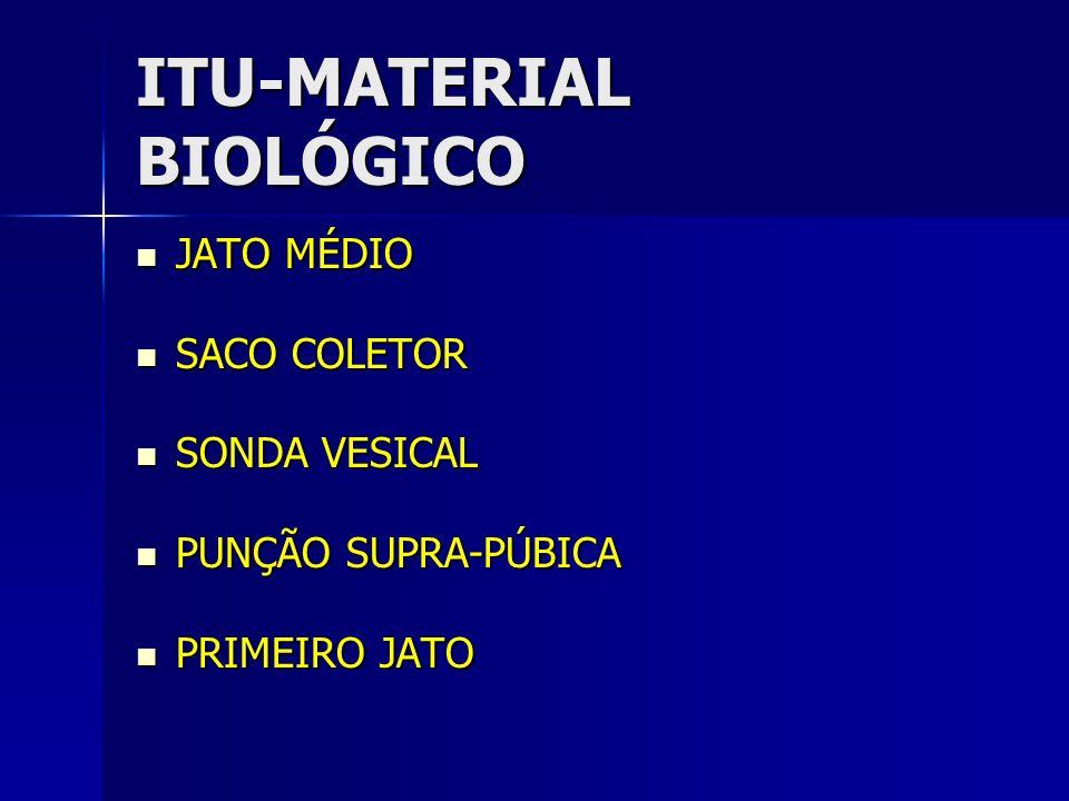 ITU-MATERIAL BIOLÓGICO JATO MÉDIO JATO MÉDIO SACO COLETOR SACO COLETOR SONDA VESICAL SONDA VESICAL PUNÇÃO SUPRA-PÚBICA PUNÇÃO SUPRA-PÚBICA PRIMEIRO JA