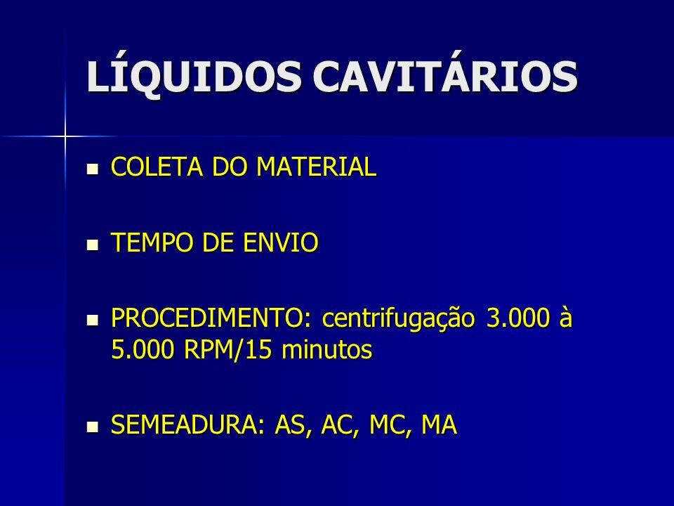LÍQUIDOS CAVITÁRIOS COLETA DO MATERIAL COLETA DO MATERIAL TEMPO DE ENVIO TEMPO DE ENVIO PROCEDIMENTO: centrifugação 3.000 à 5.000 RPM/15 minutos PROCE