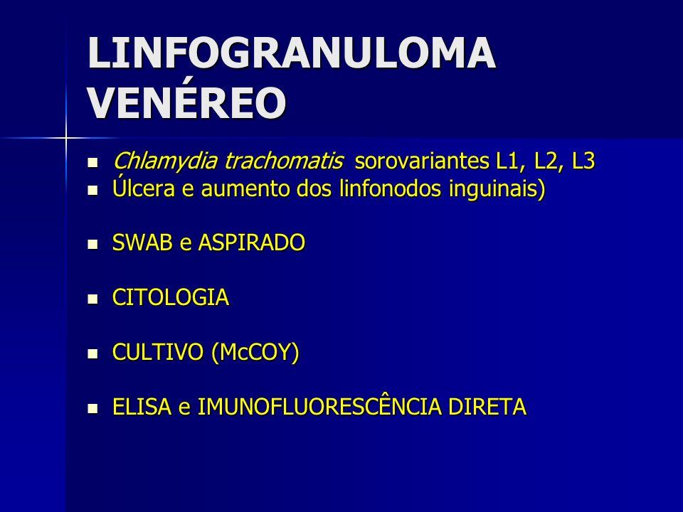 LINFOGRANULOMA VENÉREO Chlamydia trachomatis sorovariantes L1, L2, L3 Chlamydia trachomatis sorovariantes L1, L2, L3 Úlcera e aumento dos linfonodos i
