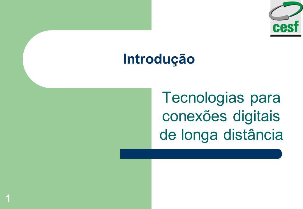 1 Introdução Tecnologias para conexões digitais de longa distância