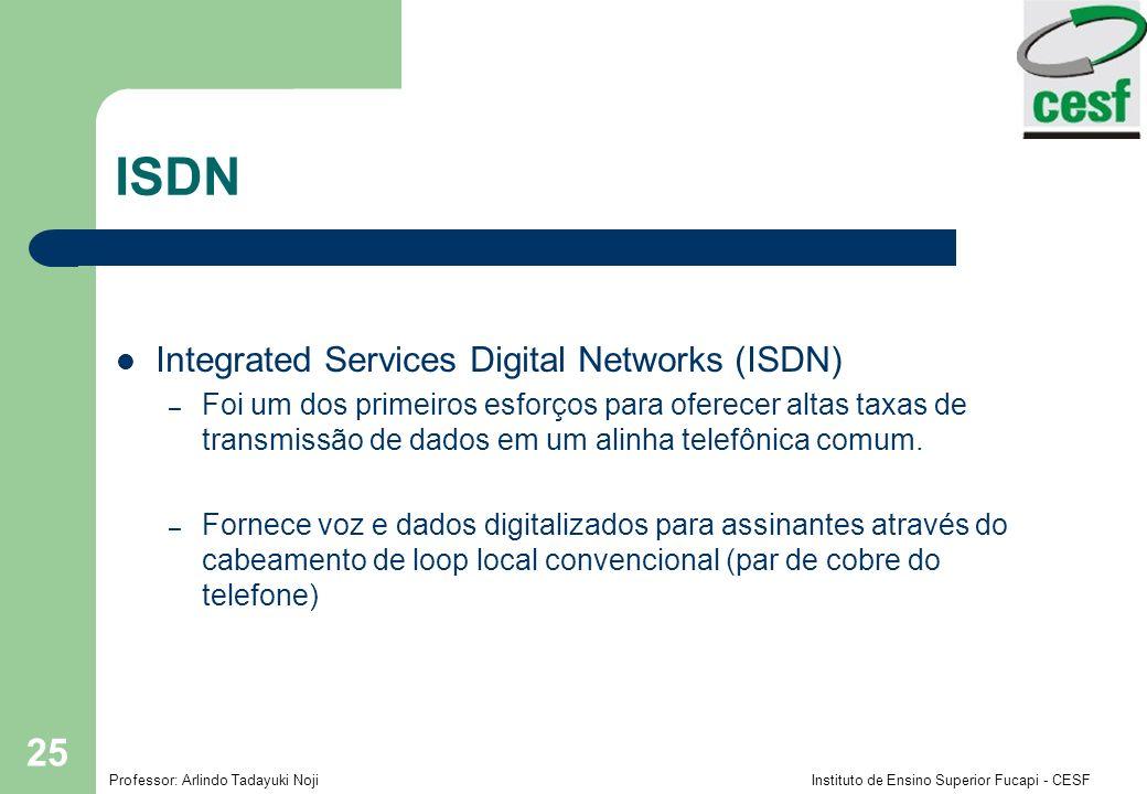 Professor: Arlindo Tadayuki Noji Instituto de Ensino Superior Fucapi - CESF 25 ISDN Integrated Services Digital Networks (ISDN) – Foi um dos primeiros