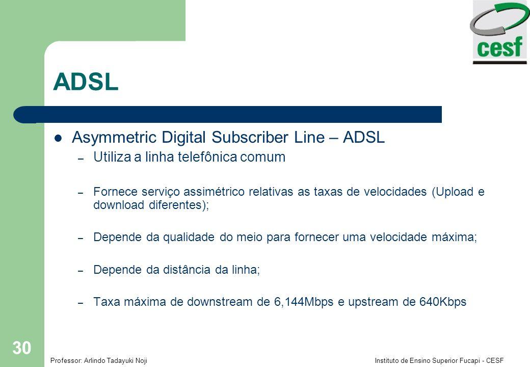 Professor: Arlindo Tadayuki Noji Instituto de Ensino Superior Fucapi - CESF 30 ADSL Asymmetric Digital Subscriber Line – ADSL – Utiliza a linha telefônica comum – Fornece serviço assimétrico relativas as taxas de velocidades (Upload e download diferentes); – Depende da qualidade do meio para fornecer uma velocidade máxima; – Depende da distância da linha; – Taxa máxima de downstream de 6,144Mbps e upstream de 640Kbps
