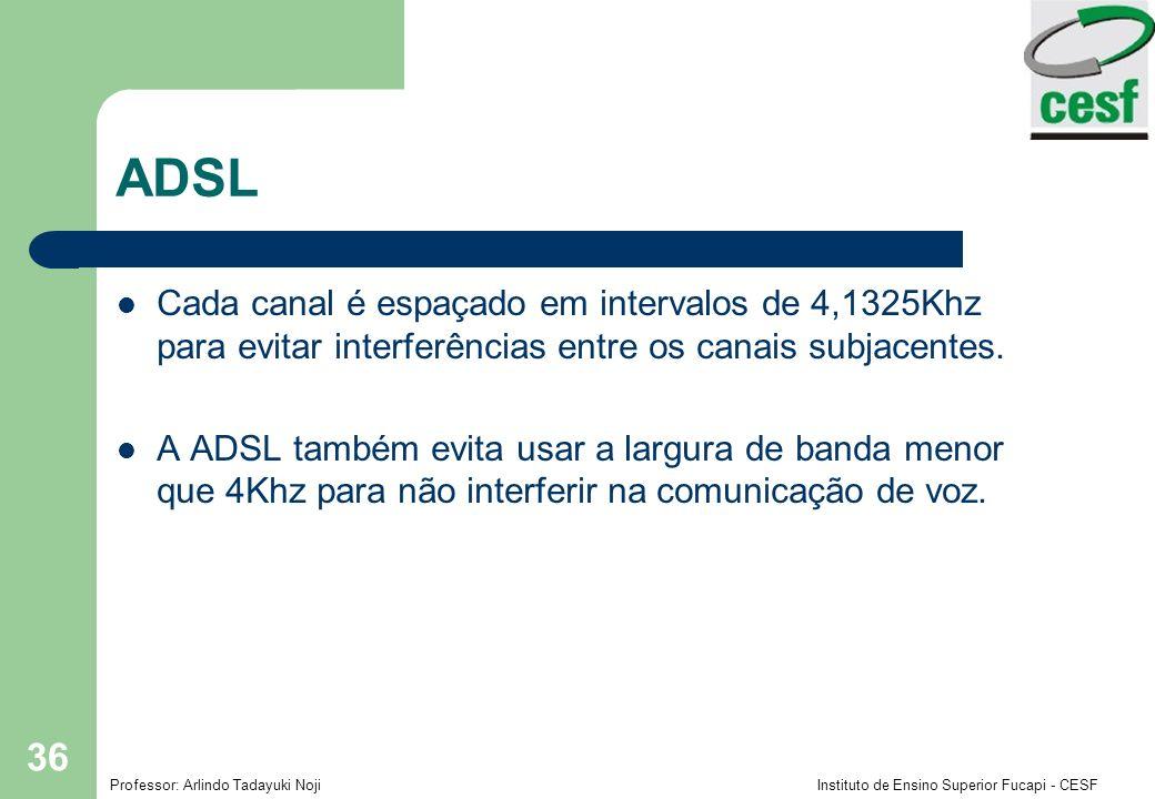 Professor: Arlindo Tadayuki Noji Instituto de Ensino Superior Fucapi - CESF 36 ADSL Cada canal é espaçado em intervalos de 4,1325Khz para evitar interferências entre os canais subjacentes.