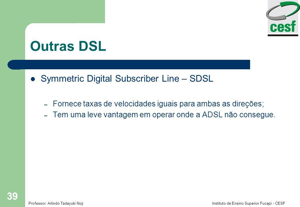 Professor: Arlindo Tadayuki Noji Instituto de Ensino Superior Fucapi - CESF 39 Outras DSL Symmetric Digital Subscriber Line – SDSL – Fornece taxas de velocidades iguais para ambas as direções; – Tem uma leve vantagem em operar onde a ADSL não consegue.