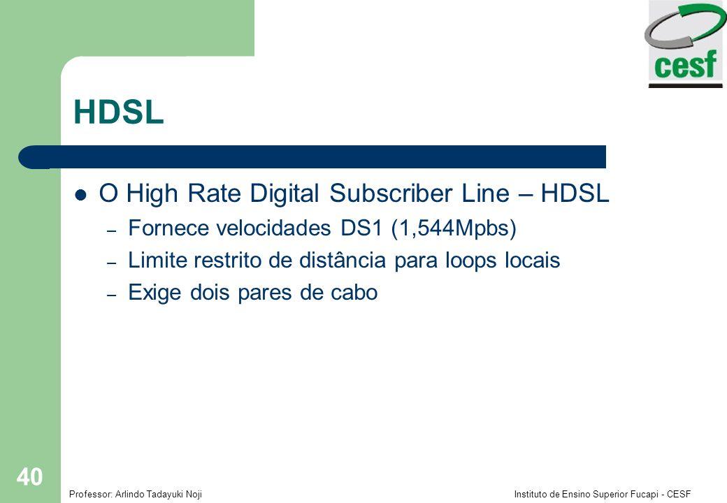 Professor: Arlindo Tadayuki Noji Instituto de Ensino Superior Fucapi - CESF 40 HDSL O High Rate Digital Subscriber Line – HDSL – Fornece velocidades D