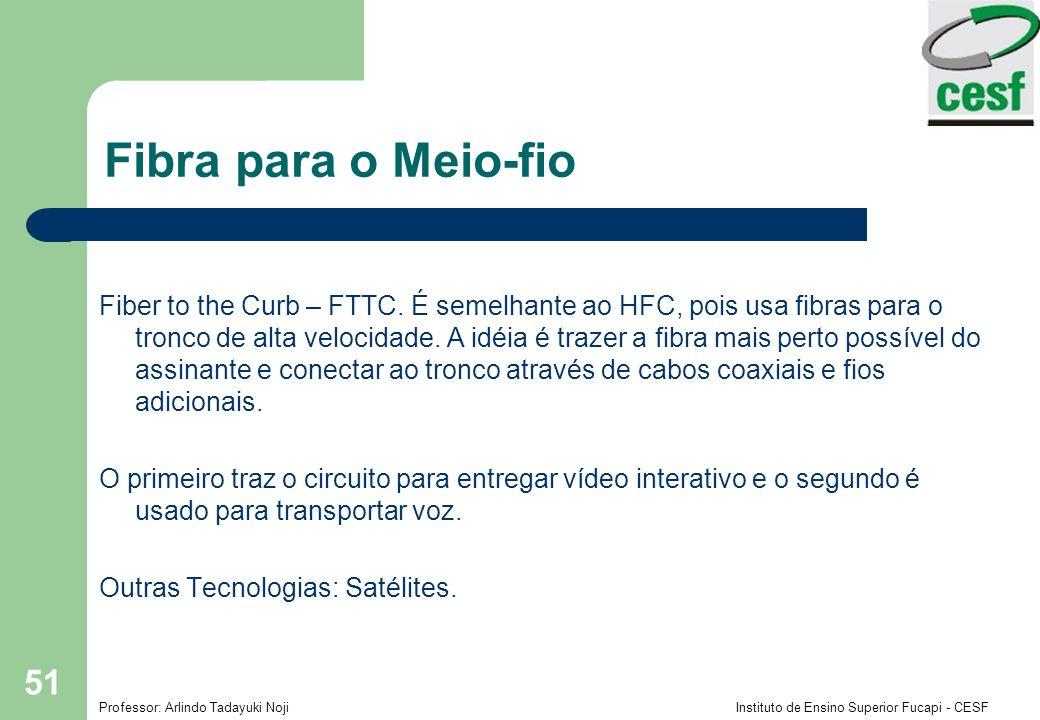 Professor: Arlindo Tadayuki Noji Instituto de Ensino Superior Fucapi - CESF 51 Fibra para o Meio-fio Fiber to the Curb – FTTC.