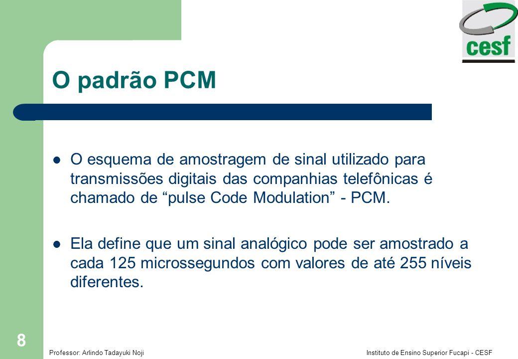 Professor: Arlindo Tadayuki Noji Instituto de Ensino Superior Fucapi - CESF 8 O padrão PCM O esquema de amostragem de sinal utilizado para transmissões digitais das companhias telefônicas é chamado de pulse Code Modulation - PCM.