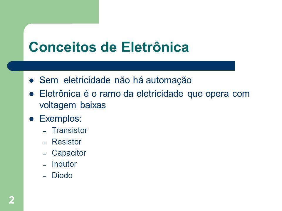 2 Conceitos de Eletrônica Sem eletricidade não há automação Eletrônica é o ramo da eletricidade que opera com voltagem baixas Exemplos: – Transistor –