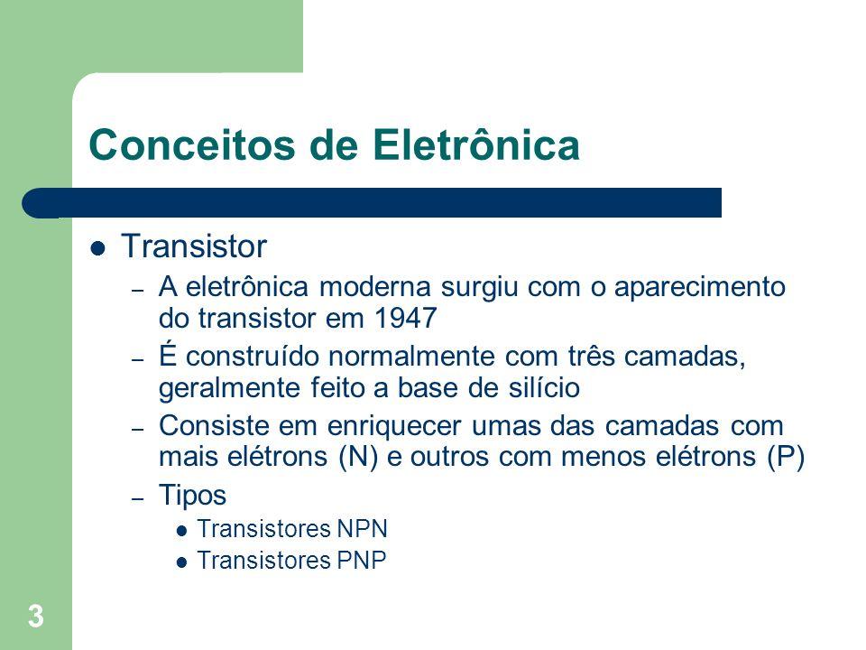 3 Conceitos de Eletrônica Transistor – A eletrônica moderna surgiu com o aparecimento do transistor em 1947 – É construído normalmente com três camada