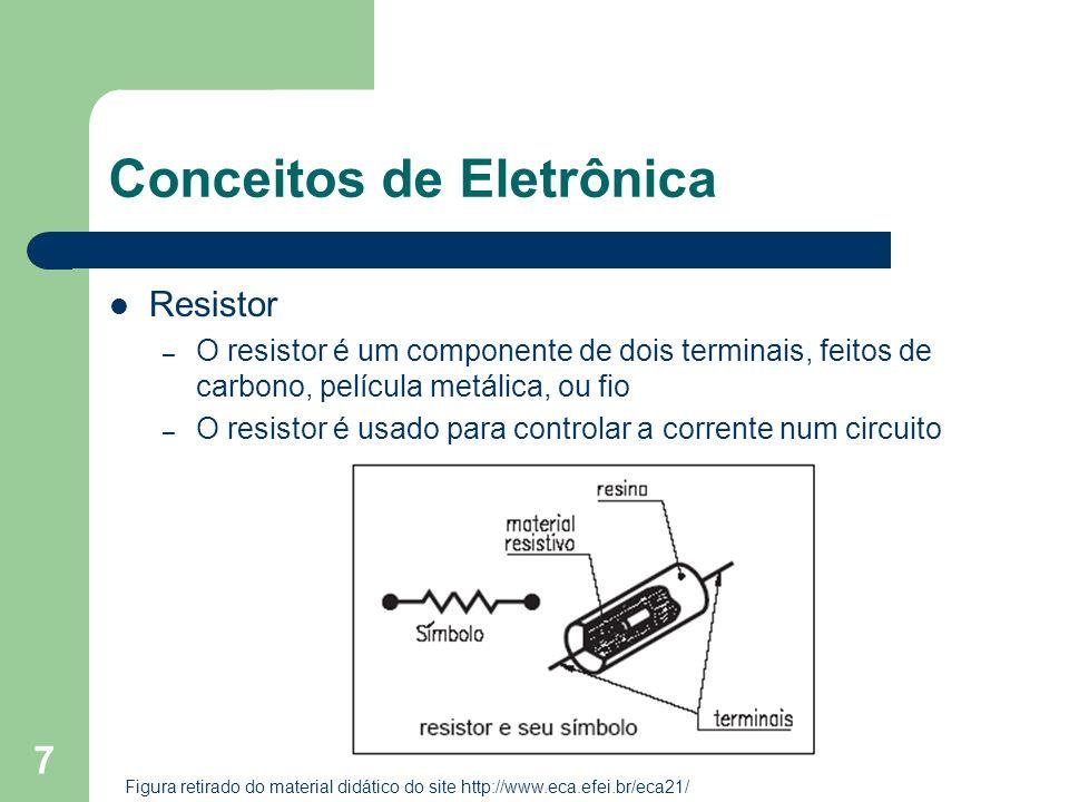 7 Conceitos de Eletrônica Resistor – O resistor é um componente de dois terminais, feitos de carbono, película metálica, ou fio – O resistor é usado p