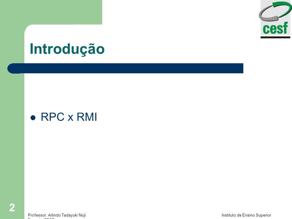 Professor: Arlindo Tadayuki Noji Instituto de Ensino Superior Fucapi - CESF 2 Introdução RPC x RMI