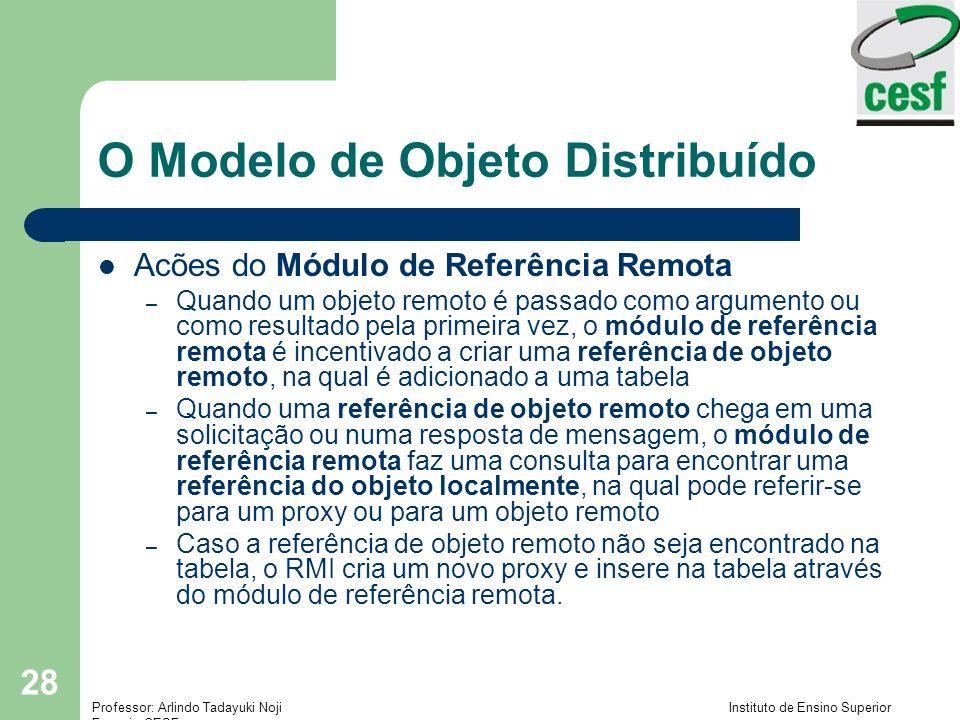 Professor: Arlindo Tadayuki Noji Instituto de Ensino Superior Fucapi - CESF 28 O Modelo de Objeto Distribuído Acões do Módulo de Referência Remota – Quando um objeto remoto é passado como argumento ou como resultado pela primeira vez, o módulo de referência remota é incentivado a criar uma referência de objeto remoto, na qual é adicionado a uma tabela – Quando uma referência de objeto remoto chega em uma solicitação ou numa resposta de mensagem, o módulo de referência remota faz uma consulta para encontrar uma referência do objeto localmente, na qual pode referir-se para um proxy ou para um objeto remoto – Caso a referência de objeto remoto não seja encontrado na tabela, o RMI cria um novo proxy e insere na tabela através do módulo de referência remota.