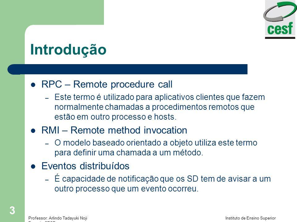 Professor: Arlindo Tadayuki Noji Instituto de Ensino Superior Fucapi - CESF 3 Introdução RPC – Remote procedure call – Este termo é utilizado para aplicativos clientes que fazem normalmente chamadas a procedimentos remotos que estão em outro processo e hosts.
