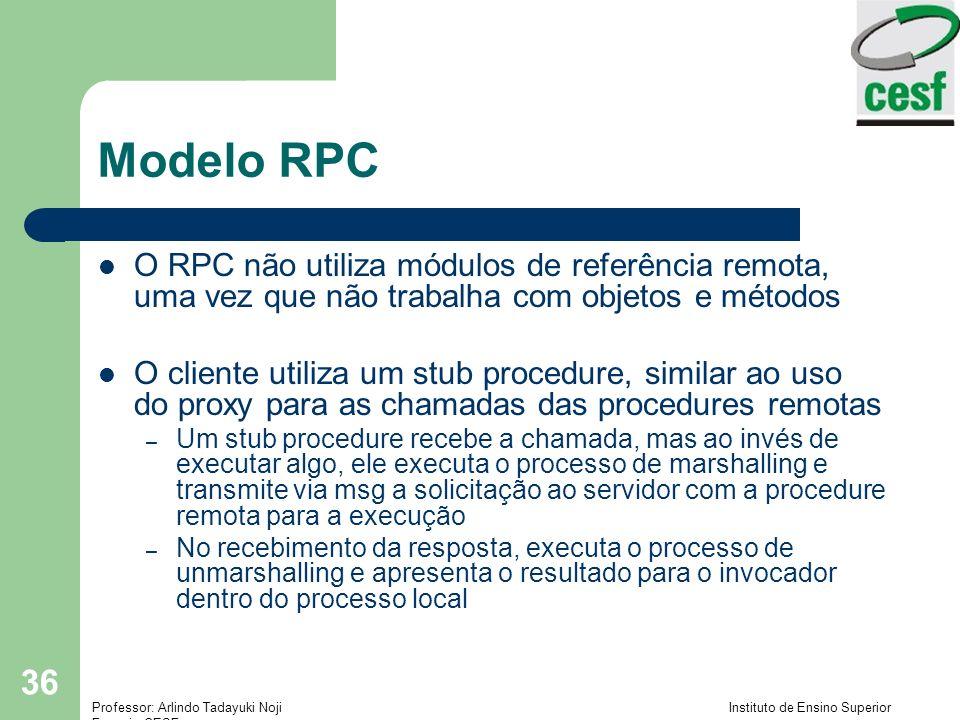 Professor: Arlindo Tadayuki Noji Instituto de Ensino Superior Fucapi - CESF 36 Modelo RPC O RPC não utiliza módulos de referência remota, uma vez que