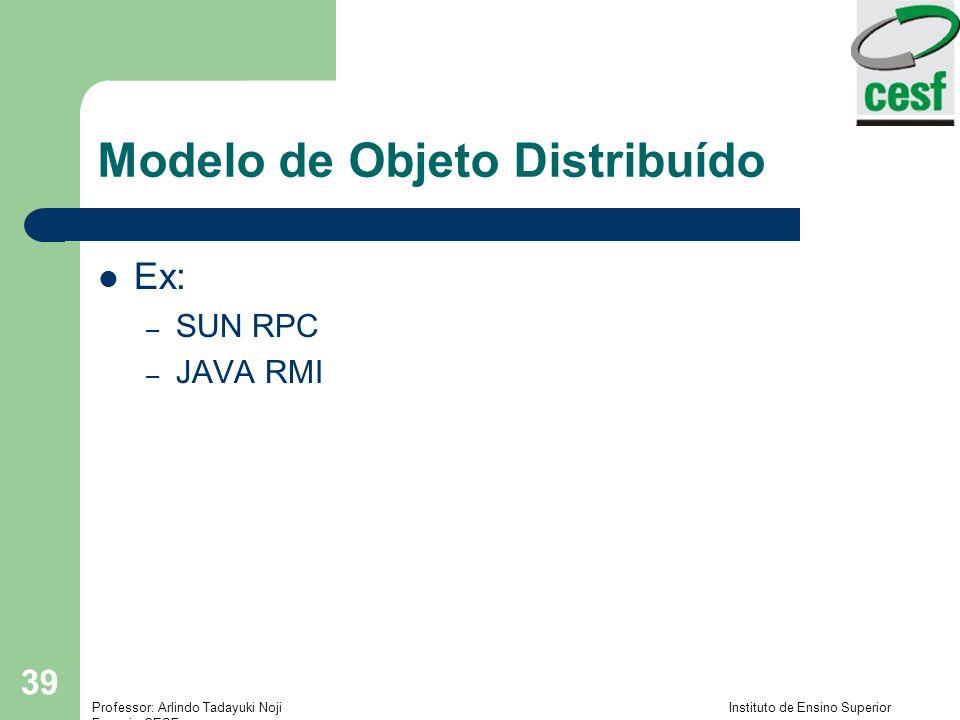 Professor: Arlindo Tadayuki Noji Instituto de Ensino Superior Fucapi - CESF 39 Modelo de Objeto Distribuído Ex: – SUN RPC – JAVA RMI