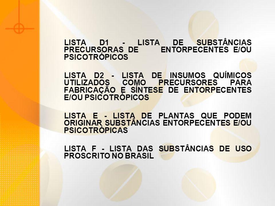 LISTA D1 - LISTA DE SUBSTÂNCIAS PRECURSORAS DE ENTORPECENTES E/OU PSICOTRÓPICOS LISTA D2 - LISTA DE INSUMOS QUÍMICOS UTILIZADOS COMO PRECURSORES PARA