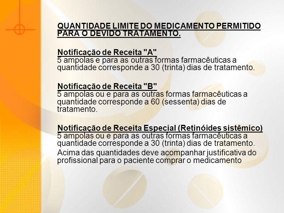 QUANTIDADE LIMITE DO MEDICAMENTO PERMITIDO PARA O DEVIDO TRATAMENTO. Notificação de Receita