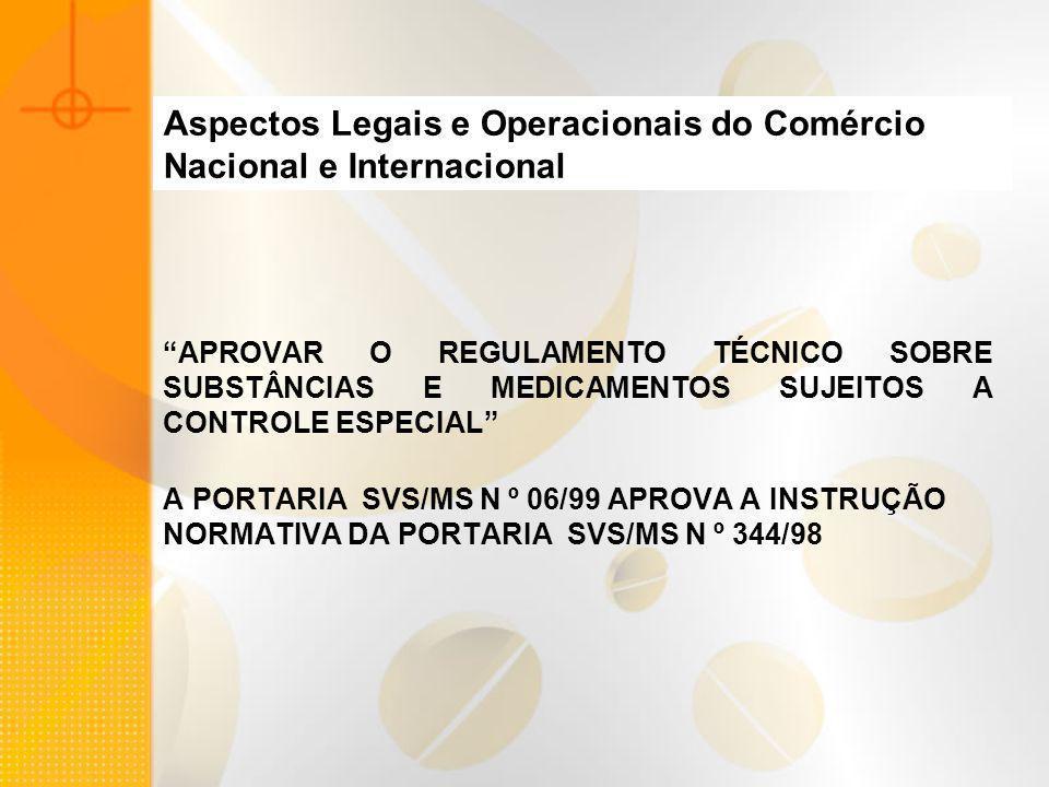 Aspectos Legais e Operacionais do Comércio Nacional e Internacional APROVAR O REGULAMENTO TÉCNICO SOBRE SUBSTÂNCIAS E MEDICAMENTOS SUJEITOS A CONTROLE