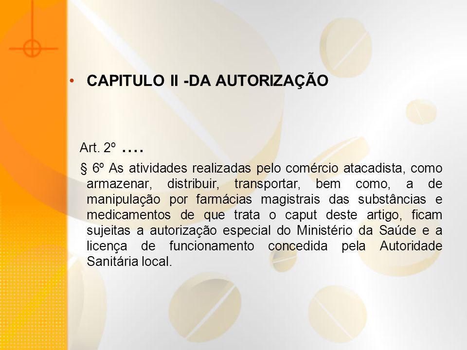 CAPITULO II -DA AUTORIZAÇÃO Art. 2º.... § 6º As atividades realizadas pelo comércio atacadista, como armazenar, distribuir, transportar, bem como, a d