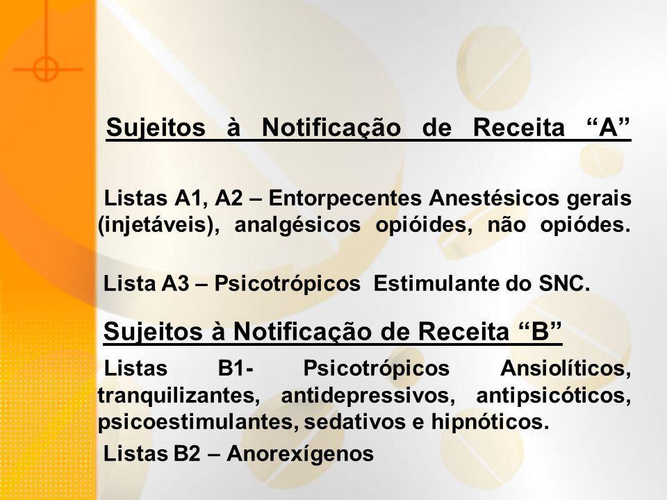 Sujeitos à Notificação de Receita A Listas A1, A2 – Entorpecentes Anestésicos gerais (injetáveis), analgésicos opióides, não opiódes. Lista A3 – Psico