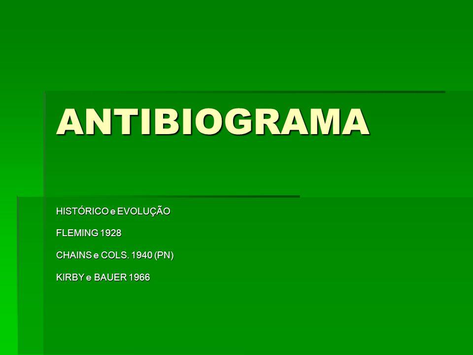 ANTIBIOGRAMA HISTÓRICO e EVOLUÇÃO FLEMING 1928 CHAINS e COLS. 1940 (PN) KIRBY e BAUER 1966