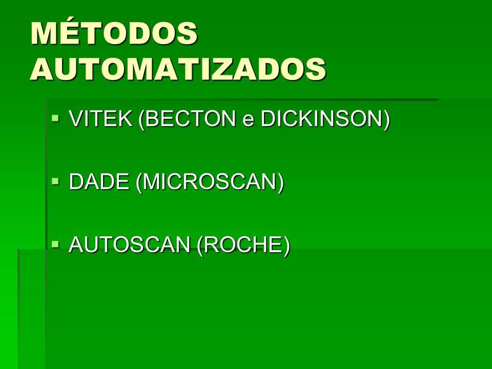 MÉTODOS AUTOMATIZADOS VITEK (BECTON e DICKINSON) VITEK (BECTON e DICKINSON) DADE (MICROSCAN) DADE (MICROSCAN) AUTOSCAN (ROCHE) AUTOSCAN (ROCHE)