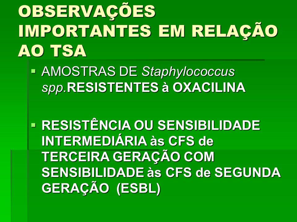 OBSERVAÇÕES IMPORTANTES EM RELAÇÃO AO TSA AMOSTRAS DE Staphylococcus spp.RESISTENTES à OXACILINA AMOSTRAS DE Staphylococcus spp.RESISTENTES à OXACILIN