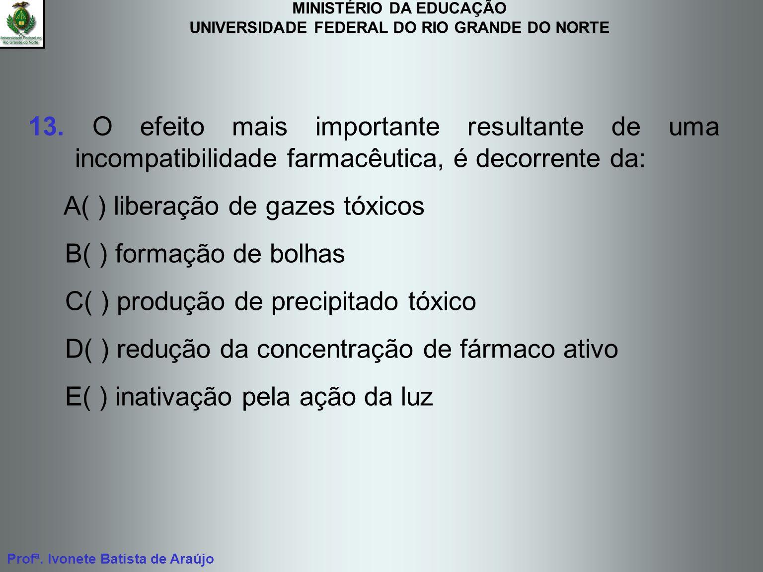MINISTÉRIO DA EDUCAÇÃO UNIVERSIDADE FEDERAL DO RIO GRANDE DO NORTE Profª. Ivonete Batista de Araújo 13. O efeito mais importante resultante de uma inc