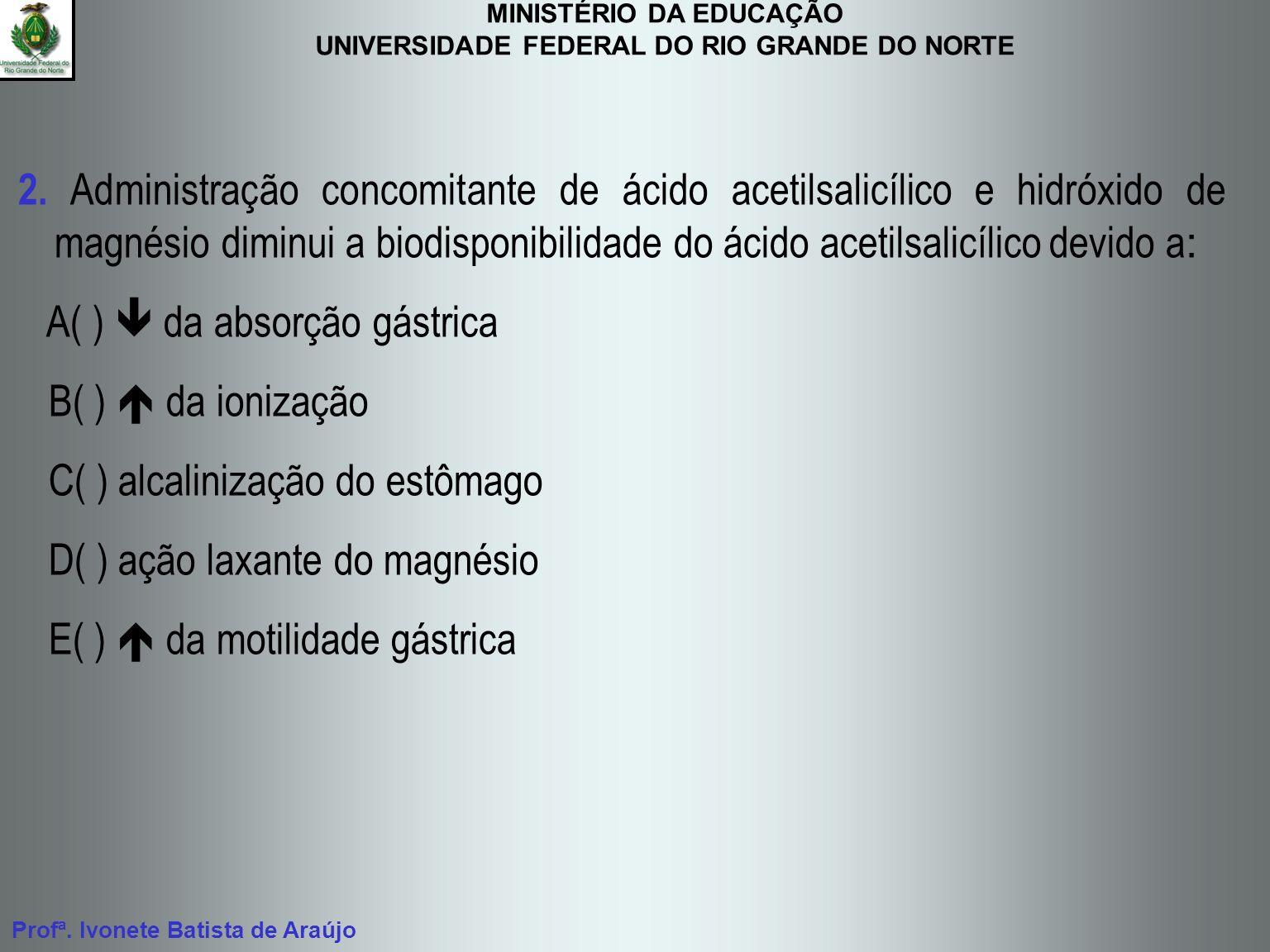 MINISTÉRIO DA EDUCAÇÃO UNIVERSIDADE FEDERAL DO RIO GRANDE DO NORTE Profª. Ivonete Batista de Araújo 2. Administração concomitante de ácido acetilsalic