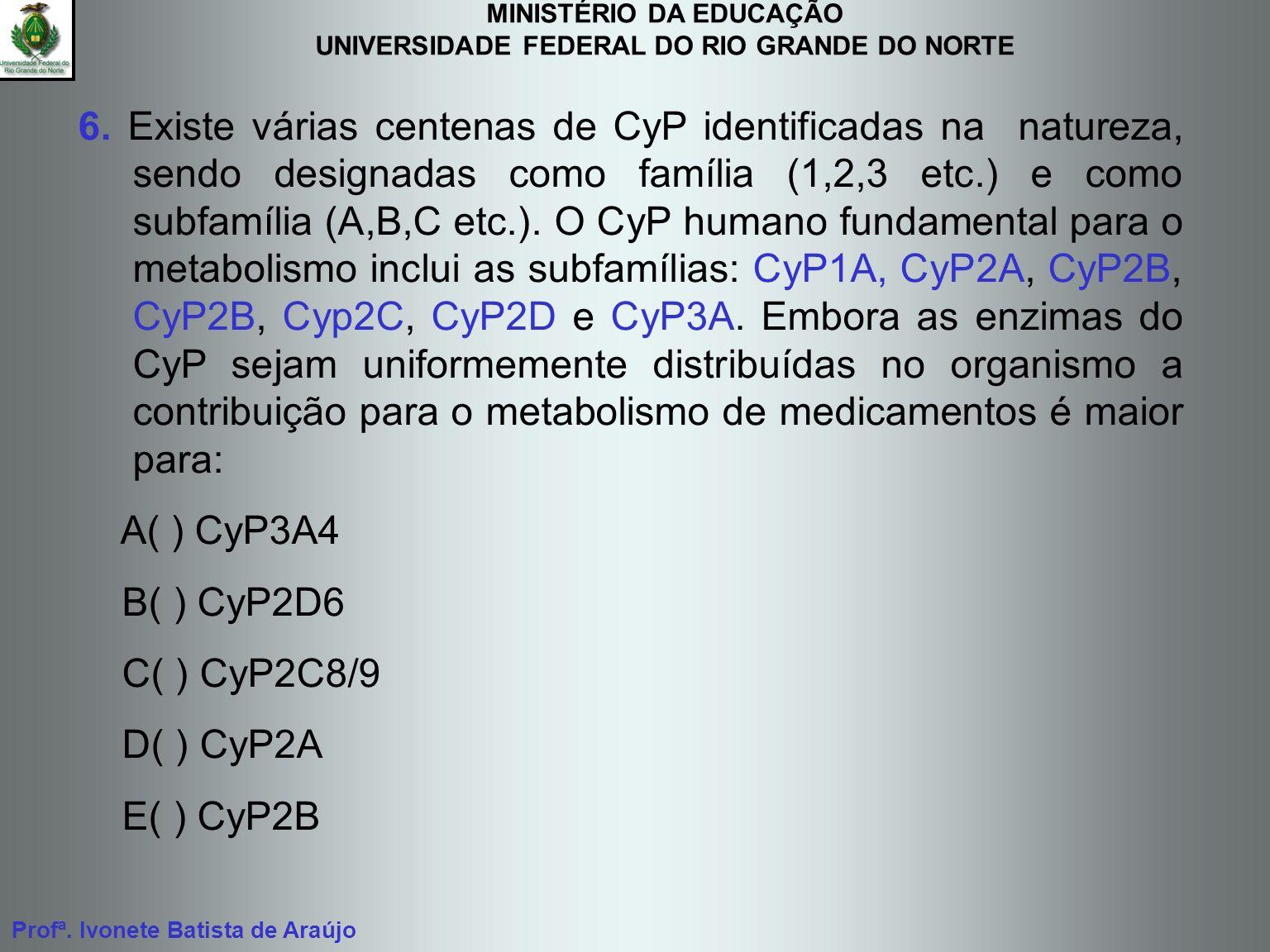 MINISTÉRIO DA EDUCAÇÃO UNIVERSIDADE FEDERAL DO RIO GRANDE DO NORTE Profª. Ivonete Batista de Araújo 6. Existe várias centenas de CyP identificadas na