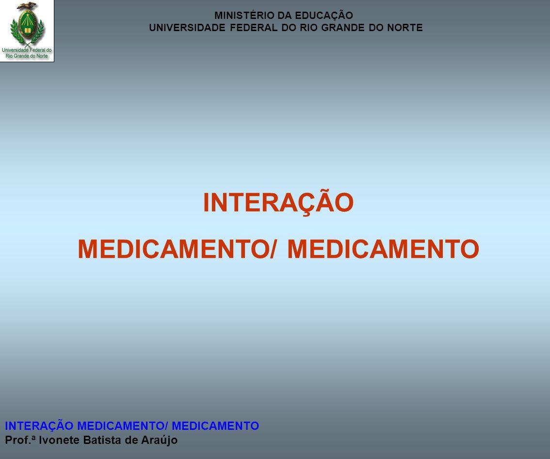 MINISTÉRIO DA EDUCAÇÃO UNIVERSIDADE FEDERAL DO RIO GRANDE DO NORTE INTERAÇÃO MEDICAMENTO/ MEDICAMENTO Prof.ª Ivonete Batista de Araújo FARMACOCINÉTICA METABOLISMO ( 1A2, 2A6, 2B6, 2C8/9, 2C19,2D6, 2E1, 3A4) CARBAMAZEPINA GLIBENCLAMIDA (1A2, 2B6, 2C8/9, 2C19, 3A4) (2C9) OXCARBAMAZEPINA TEOFILINA (3A4) (1A2, 2E1, 3A4) FENOBARBITAL VARFARINA (1A2, 2A6, 2B6, 2C8/9, 3A4) (C8/9, 2C9,3A4) FENITOÍNA ESTRÔGENOS (2B6, 2C8/9, 2C19, 3A4) (1A2, 3A4) RIFAMPICINA ENALAPRIL (1A2, 2A6, 2B6, 2C8/9, 2C9, 2C19, 2D6, 3A4) (3A4) INDUÇÃO ENZIMÁTICA EFEITO