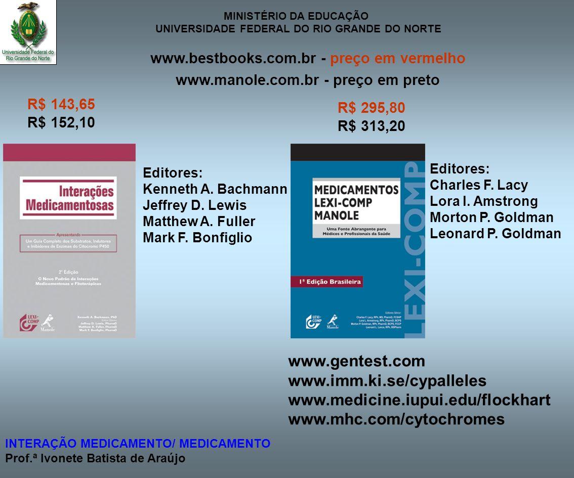 MINISTÉRIO DA EDUCAÇÃO UNIVERSIDADE FEDERAL DO RIO GRANDE DO NORTE INTERAÇÃO MEDICAMENTO/ MEDICAMENTO Prof.ª Ivonete Batista de Araújo R$ 295,80 R$ 31