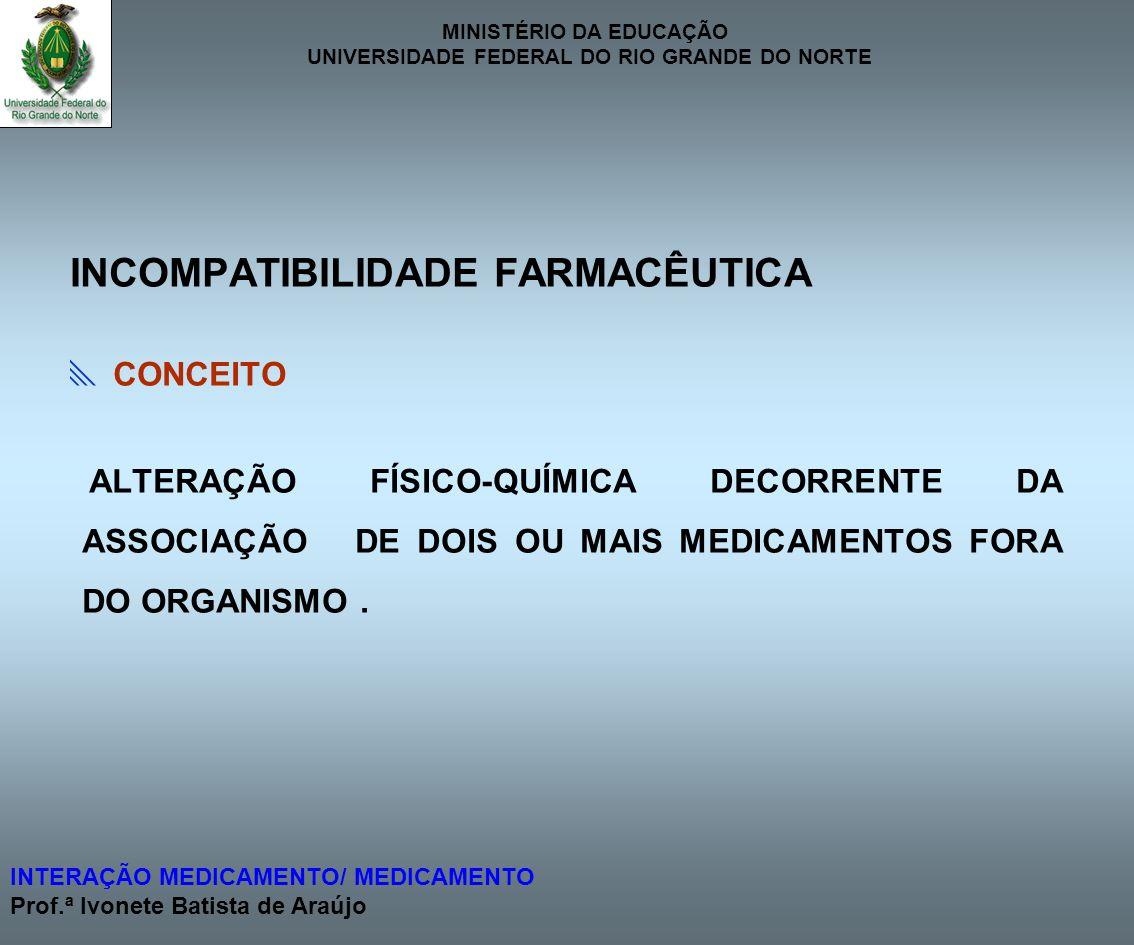 MINISTÉRIO DA EDUCAÇÃO UNIVERSIDADE FEDERAL DO RIO GRANDE DO NORTE INTERAÇÃO MEDICAMENTO/ MEDICAMENTO Prof.ª Ivonete Batista de Araújo INCOMPATIBILIDA